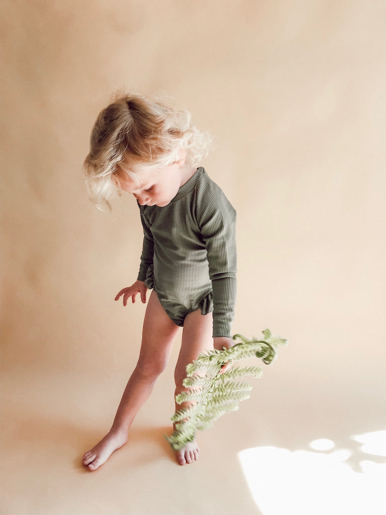 Long Sleeve Swimsuit Olive