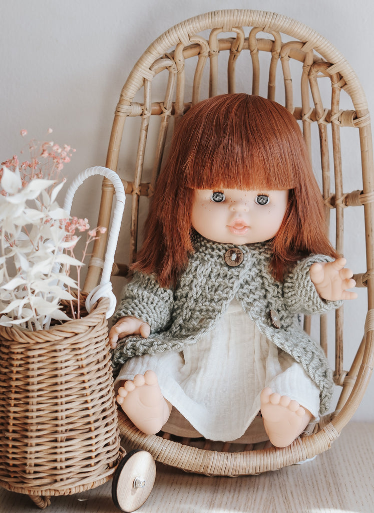 Capuchine Doll in Ivory Dress and Sage Sweater