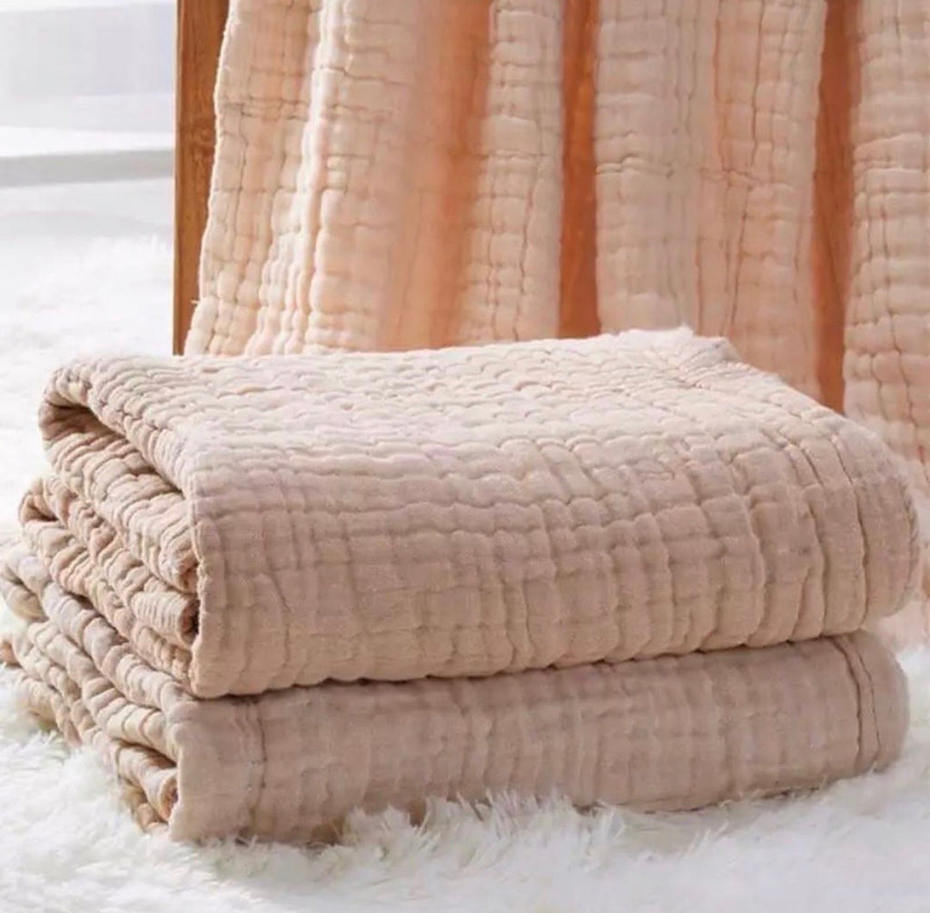 CHAI Organic Cotton Quilted Muslin Blanket
