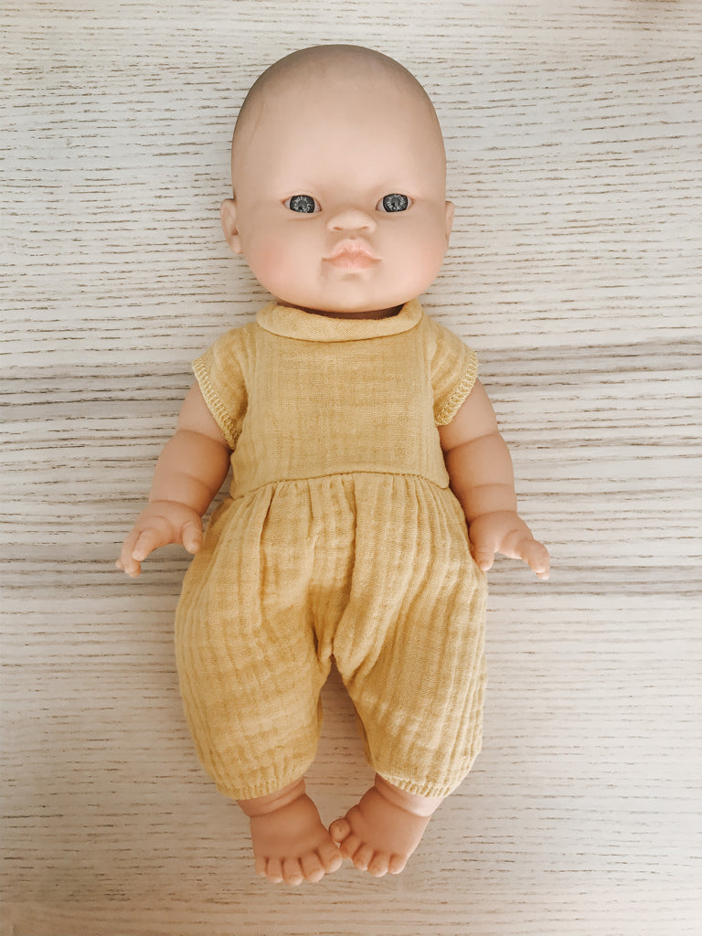 French Babydoll Asian Boy with Mustard Romper