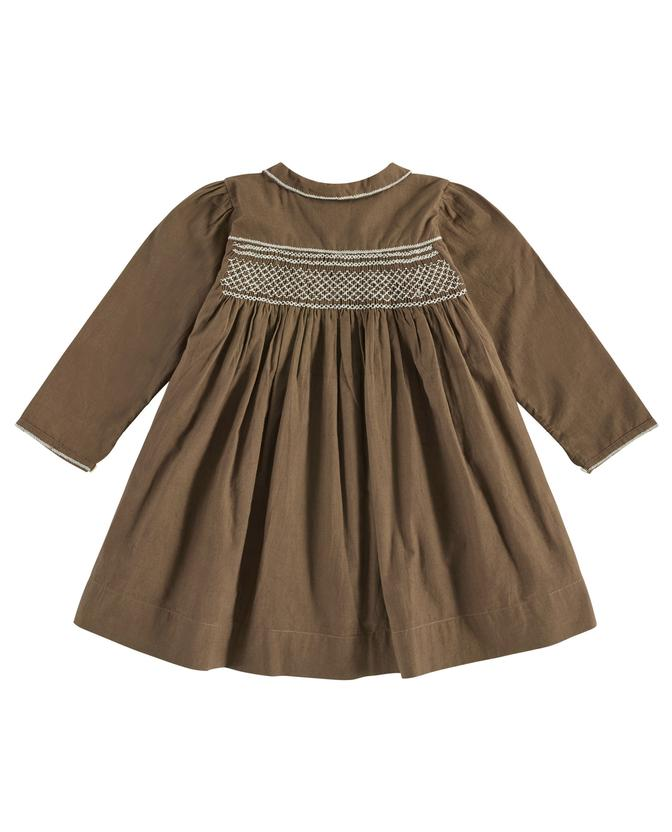 Ava smocked dress - nut