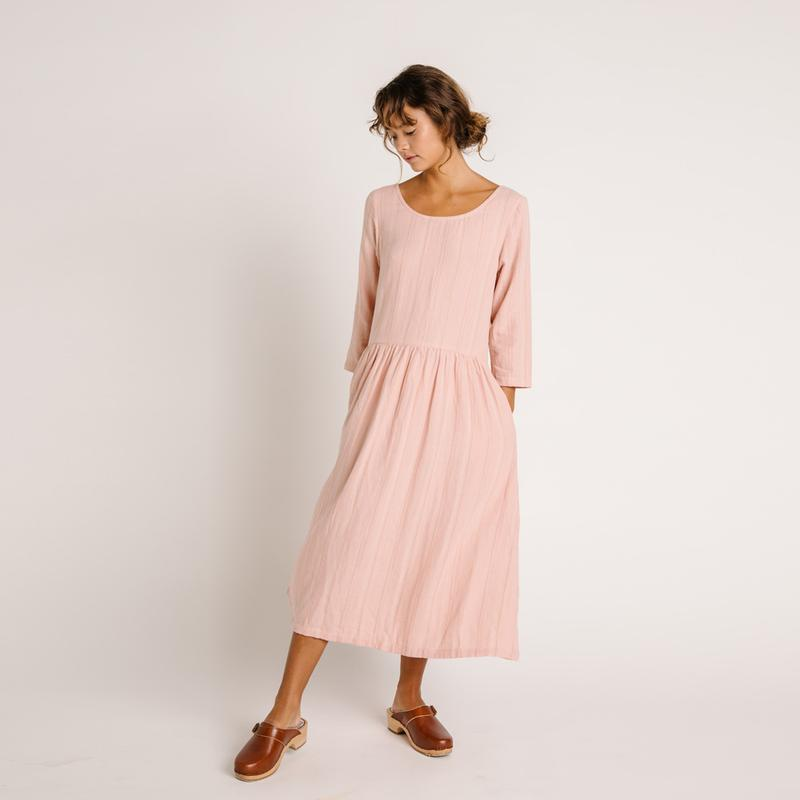 ZINNIA DRESS Rose Stripe