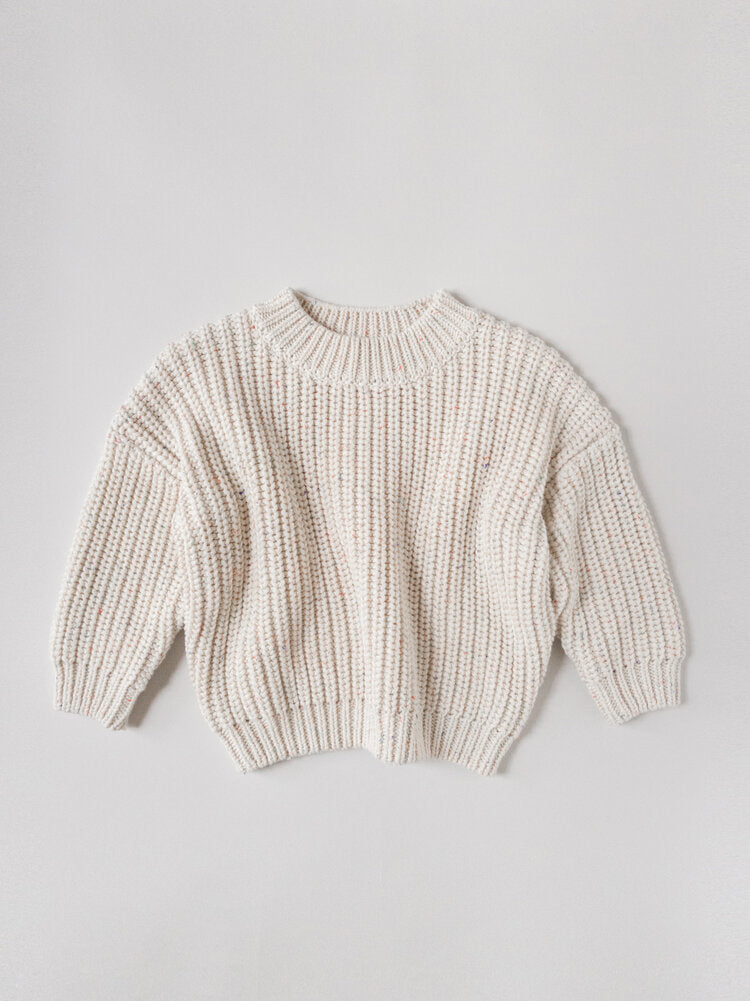 RAINBOW SPECKLE CHUNKY SWEATER | NATURAL