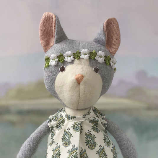 Gracie Cat in Tea Party Dress and Flower Crown