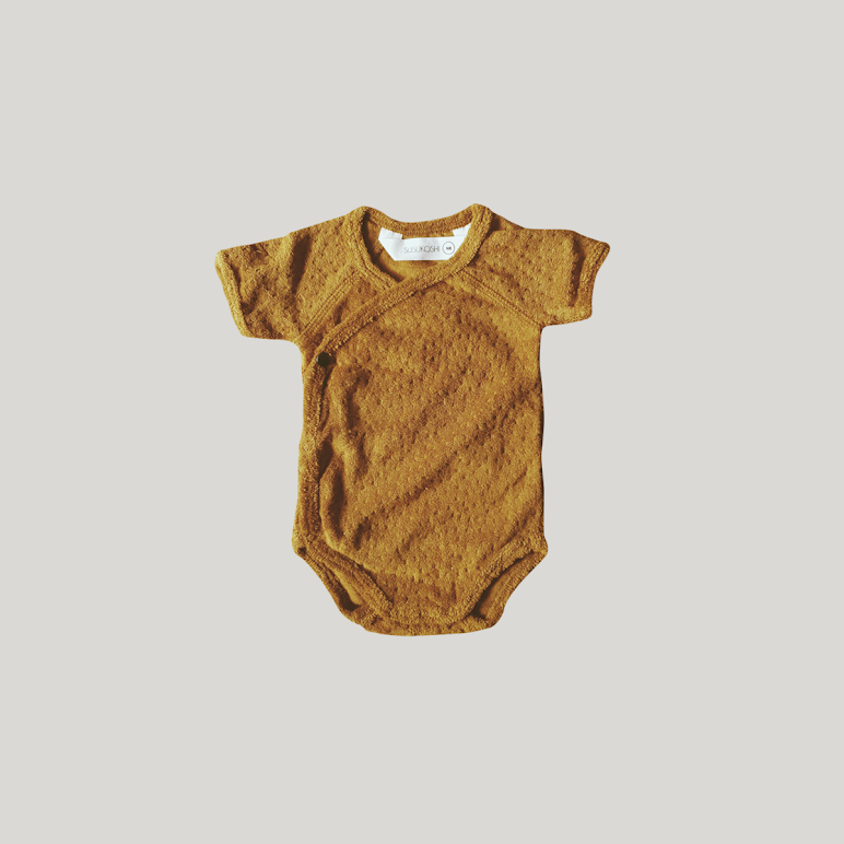 Short Sleeve Terry Bodysuit Gold