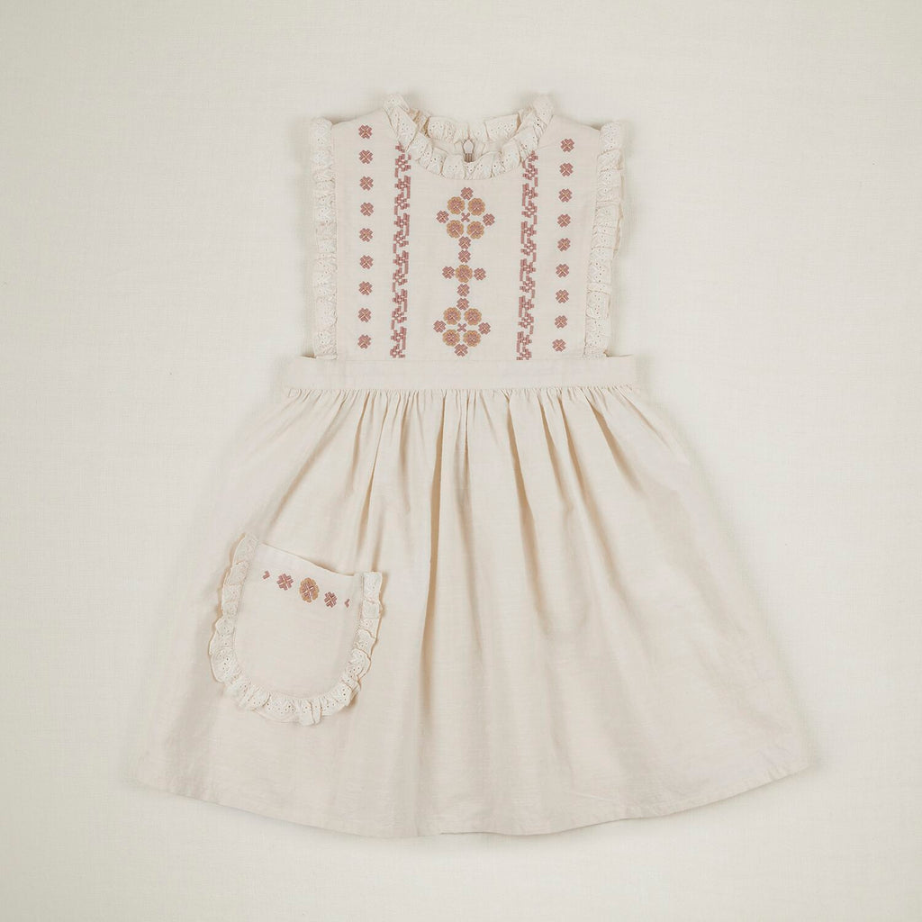 IDA DRESS EMBROIDERED IVORY