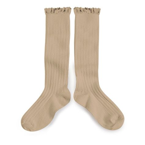 Lace Trim Knee High Socks Taupe