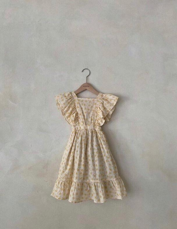 Vintage Floral Dress Yellow