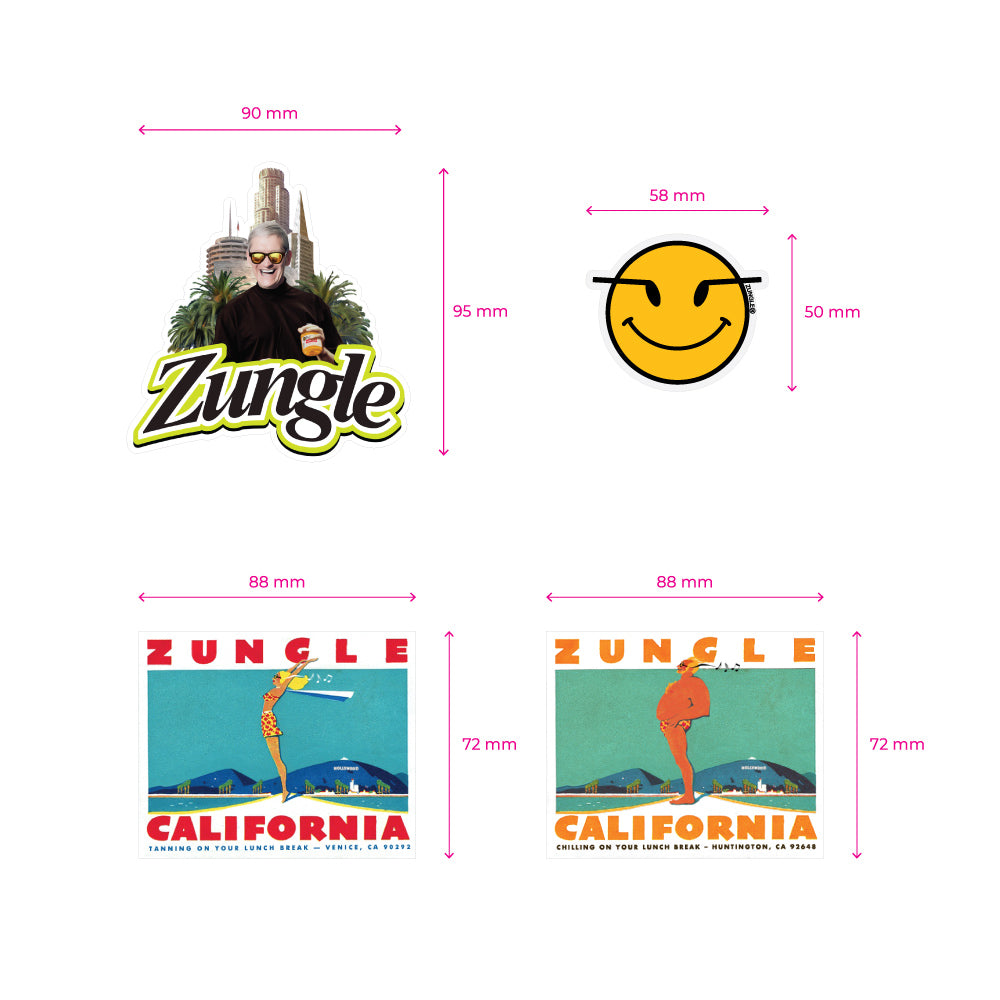 12 STICKERS - ZUNGLE, STICKER PACK - Bluetooth Sunglasses