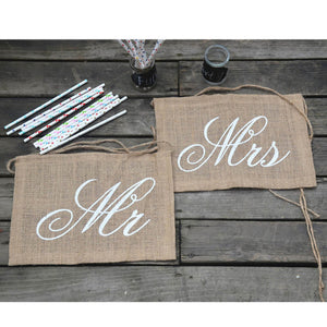 2Pcs Party Rustic Style Mr & Mrs Chair Banner Burlap Rectangle Chairs Sign For Wedding Party Groom Bride Supply Decoration E2S - Rustecor (Home Decor Items)