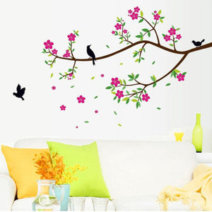 """Flowers and Birds"" Wall Sticker - Rustecor (Home Decor Items)"