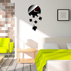 """Maple Leaves"" Mirror Wall Clock Removable Wall Stickers - Rustecor (Home Decor Items)"