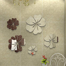 3D Mirror 5 Flowers Removable wall Sticker - Rustecor (Home Decor Items)