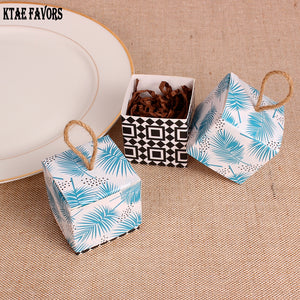 Tropical Chic Palms Candy Box Wedding Gifts with Rustic Burlap Twine For Guests (WEDDING FAVORS) - Rustecor (Home Decor Items)
