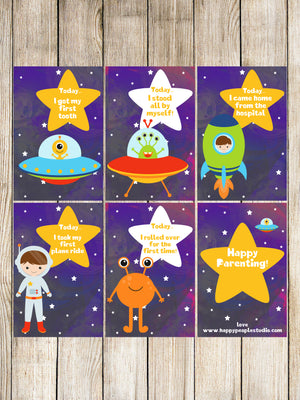 Milestone Cards - Up in Space