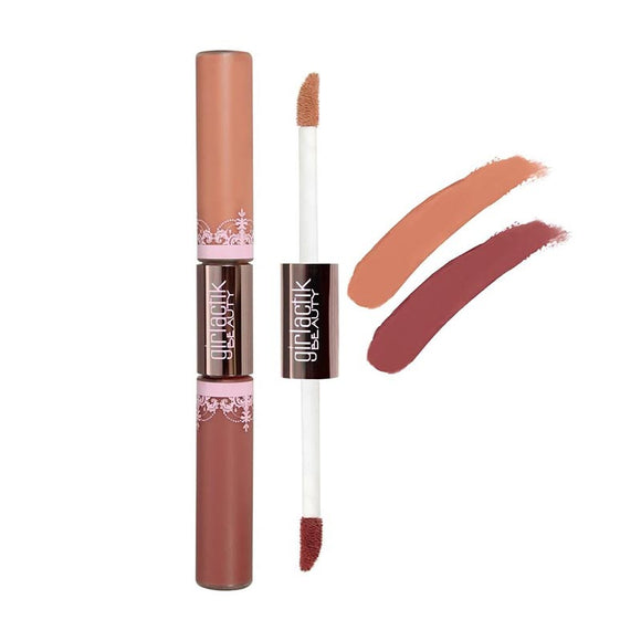 GIRLACTIK  LONG LASTING MATTE LIP PAINT LIQUID LIPSTICK DUO - Demure/bashful