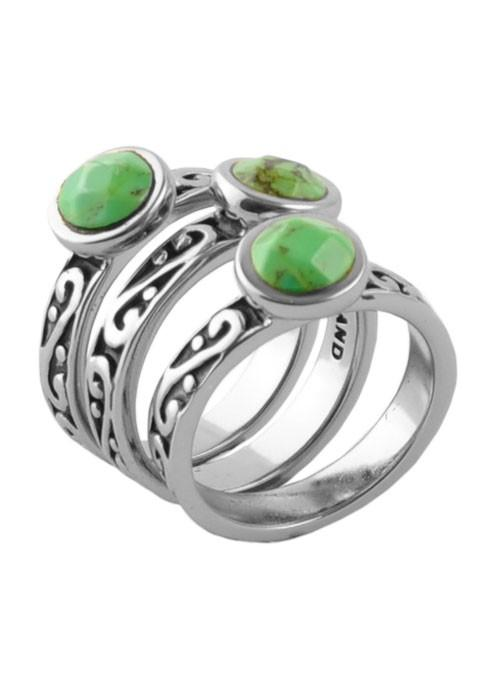 Barse Round Lime Turquoise Triple Ring Silver