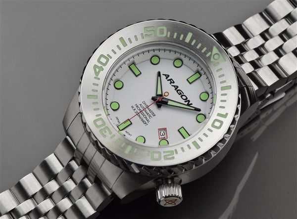 ARAGON Divemaster EVO 50mm Super Luminova Dial A254WHT
