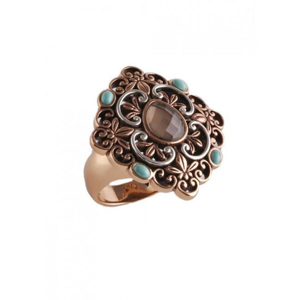 Barse Curlicue Turquoise and Smoky Quartz Ring