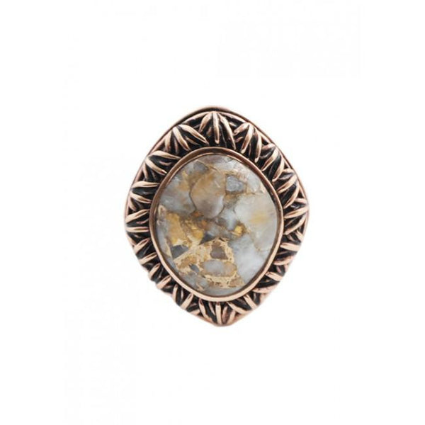 Barse Oval White Calcite Copper Ring