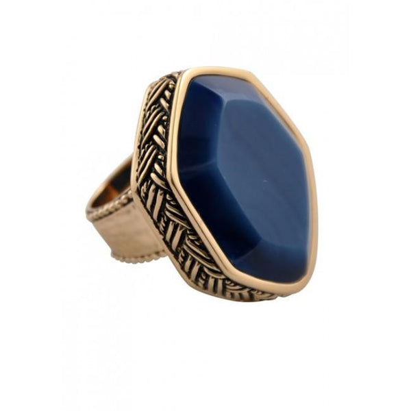 Barse Hammered Bronze Statement Ring - Blue Agate