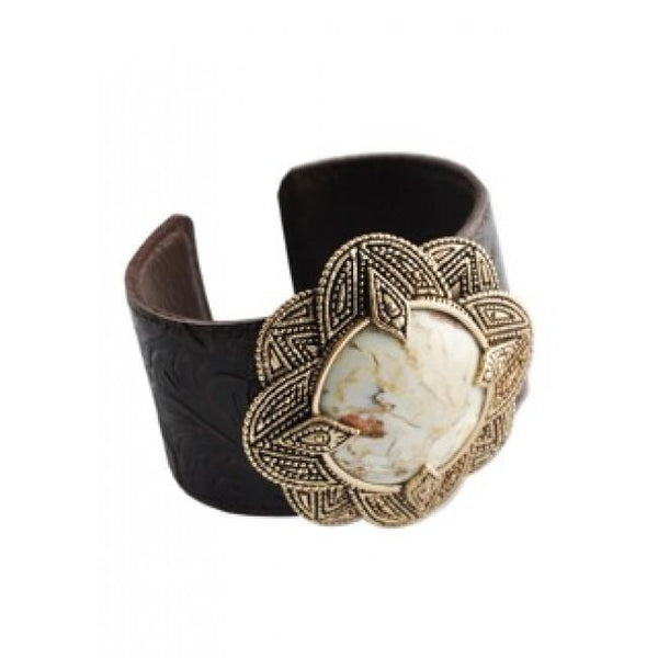 Barse African Opal and Bronze Leather Cuff Bracelet