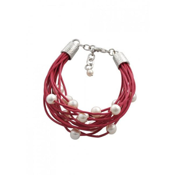 Barse Leather 'n' Pearls Good Times Bracelet-Deep Pink