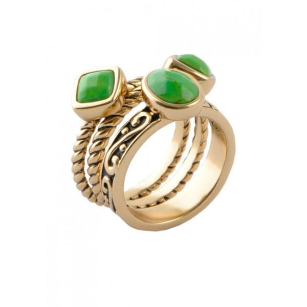Barse Multi-Shape Lime Turquoise Trio Ring