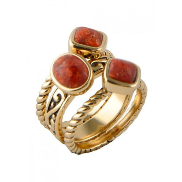 Barse Multi-Shape Orange Sponge Coral Trio Ring