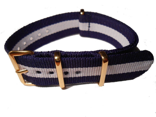 NATO Gold Strap Blue and White