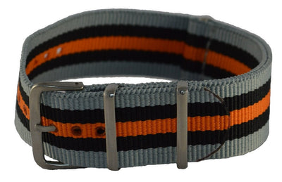 NATO strap grey, black and orange