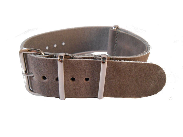 NATO Leather Strap Grey