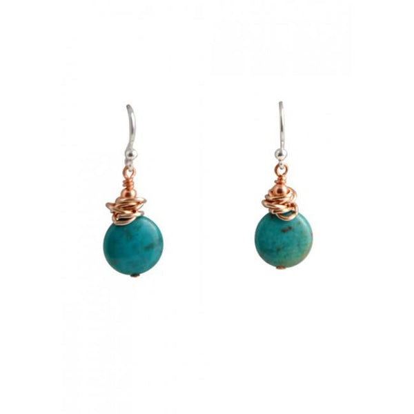 Barse Copper and Turquoise Disc Earring