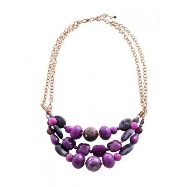 Barse Purple Reigns Genuine Stone Necklace