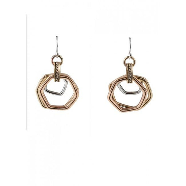 Barse Tri-Metal Abstract Earring
