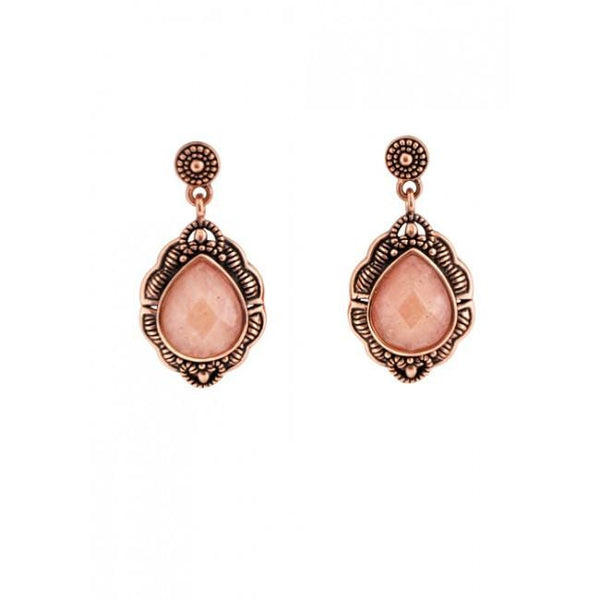 Barse Peach Aventurine and Copper Drop Earring