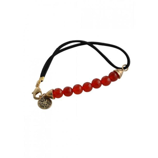 Barse Rockin' Leather and Stone Bracelet-Carnelian