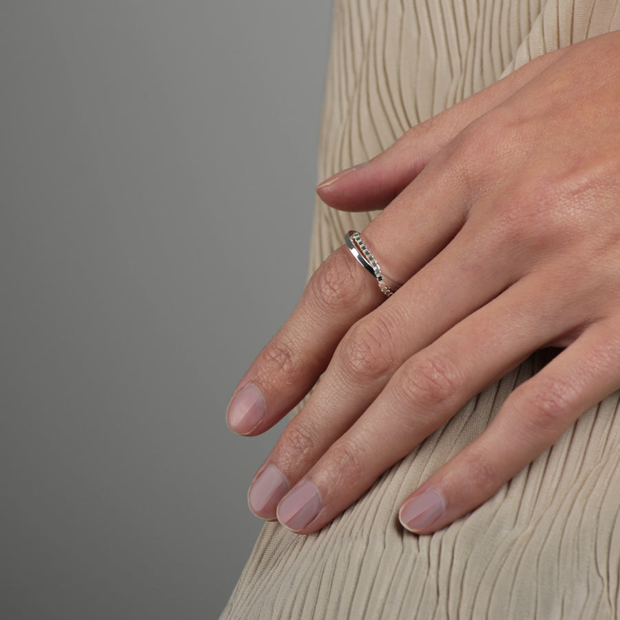 Layering Look Ring #8 Silber Draufsicht | REDKI ROBKI
