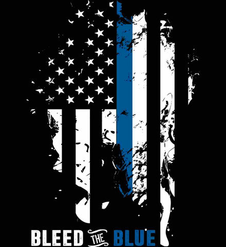Bleed the Blue. Grungy Blue Line Flag.