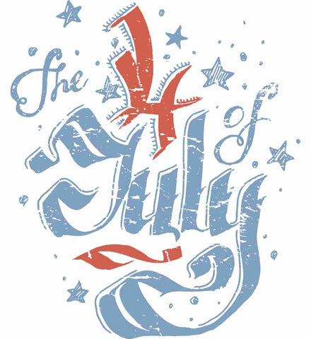 The 4th of July. Faded Ribbon Script.