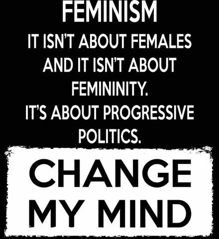 Feminism. It Isn't About Females. It's About Progressive Politics. Change My Mind.