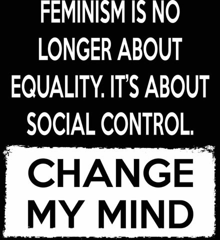 Feminism Is No Longer About Equality. It's About Social Control - Change My Mind.