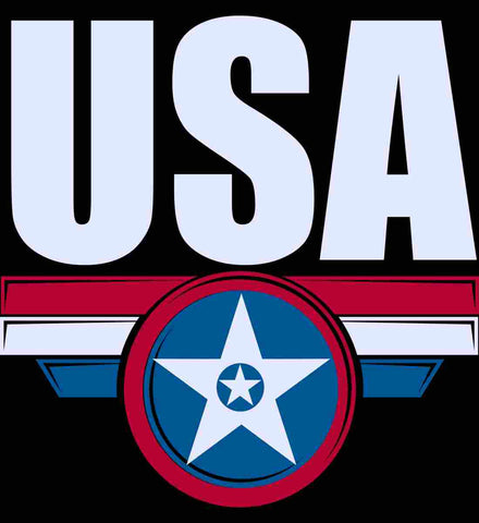 USA. Star-Shield. Red, White, Blue.