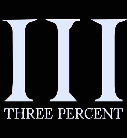 Three Percent Symbol with Text. White.