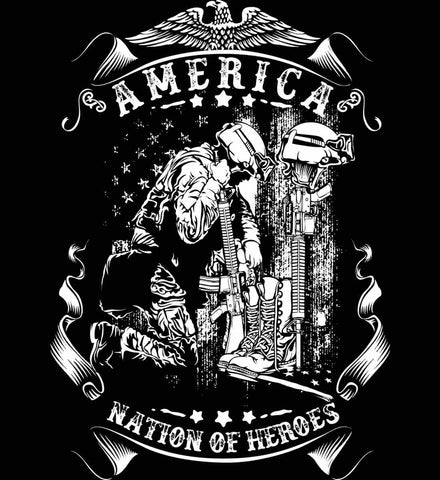 America A Nation of Heroes. Kneeling Soldier. White Print.