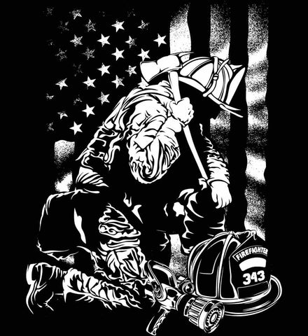 Thin Red Line. Kneeling Firefighter Ax. White Print.