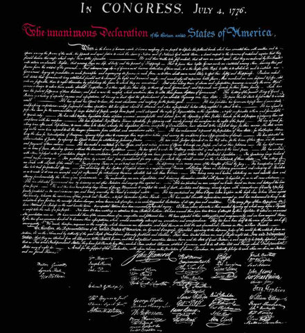 Declaration of Independence. White Print.