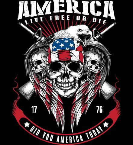 Did you America Today. 1776. Live Free or Die. Skull.