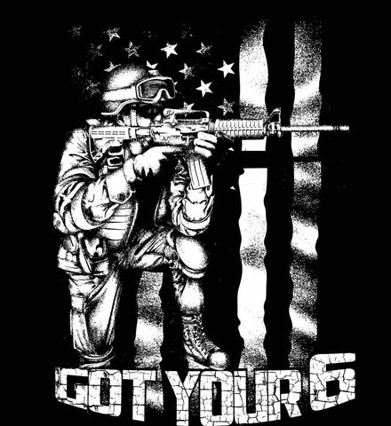 Got Your Six. Soldier Flag. White Print.