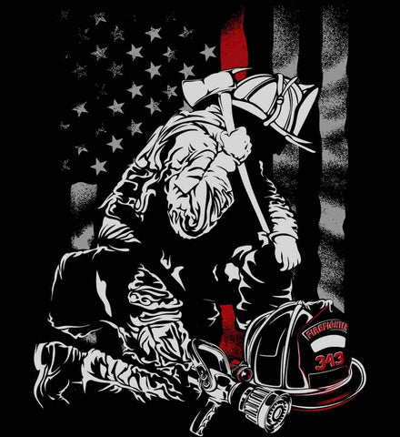 Thin Red Line. Kneeling Firefighter Ax.